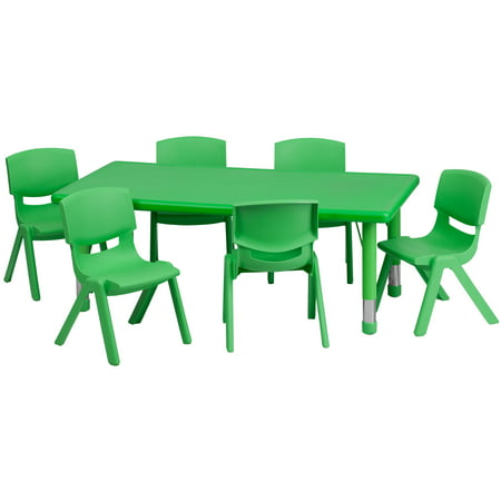 Flash Furniture 24W x 48L Adjustable Rectangular Plastic Activity Table Set in Multiple Colors with 6 School Stack Chairs