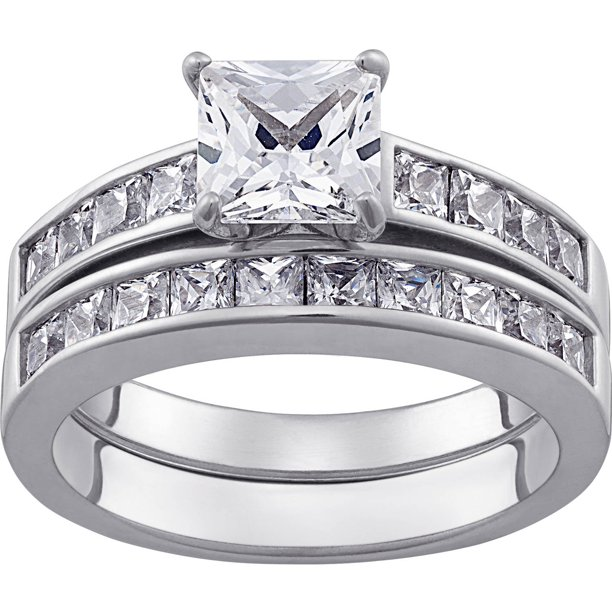 Sterling Silver Square CZ 9-PC Wedding Ring Set