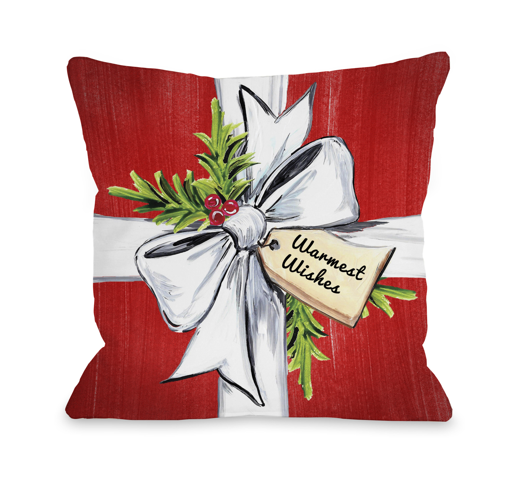 Warmest Wishes - Red Multi 18x18 Pillow by Timree