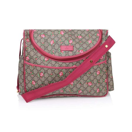 Gucci Baby Diaper Bag (Gucci Rose Bud Zip Pink Print GG Canvas Diaper Bag Beige Girl Baby Italy)