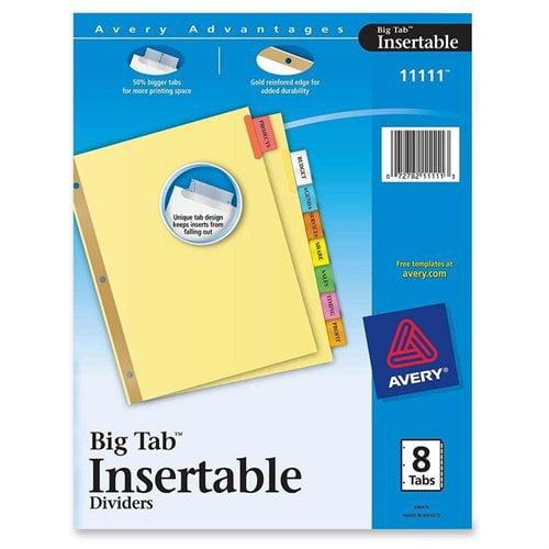 Avery WorkSaver Big Tab Paper Dividers, Multi-Colored, 8-Tab