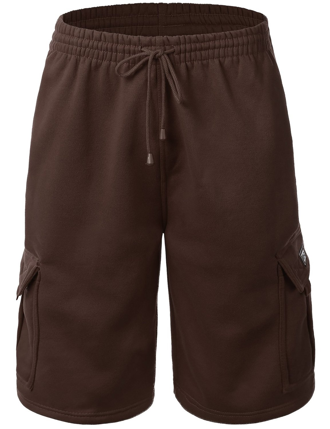 Men's Casual Loose Fit Fleece Cargo Sweat Shorts with Elastic Deawstring