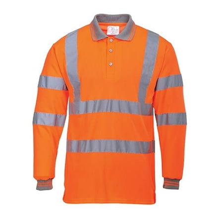 S277 Large Hi-Visibility Long Sleeved Polo Shirt, Orange - Regular