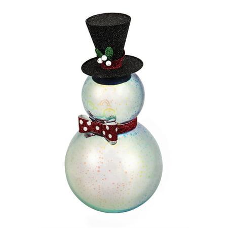 Silver Stargazing LED Snowman -