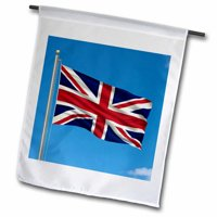 3dRose Flag of the United Kingdom on a flag pole with blue sky UK Great Britain British, Garden Flag, 12 by 18-Inch
