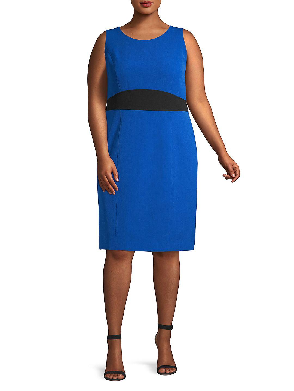 Plus Jewel Neck Color Block Sheath Dress