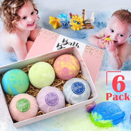 6PCS Kid Bubble Bath Bombs Inset with Toys, Natural Essential Oils Spa Bath Bomb Fizzies for Moisturizing Dry Skin ,Perfect for Bubble & Spa Bath