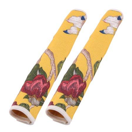 Pair Refrigerator Door Floral Pattern Anti Slip Handle