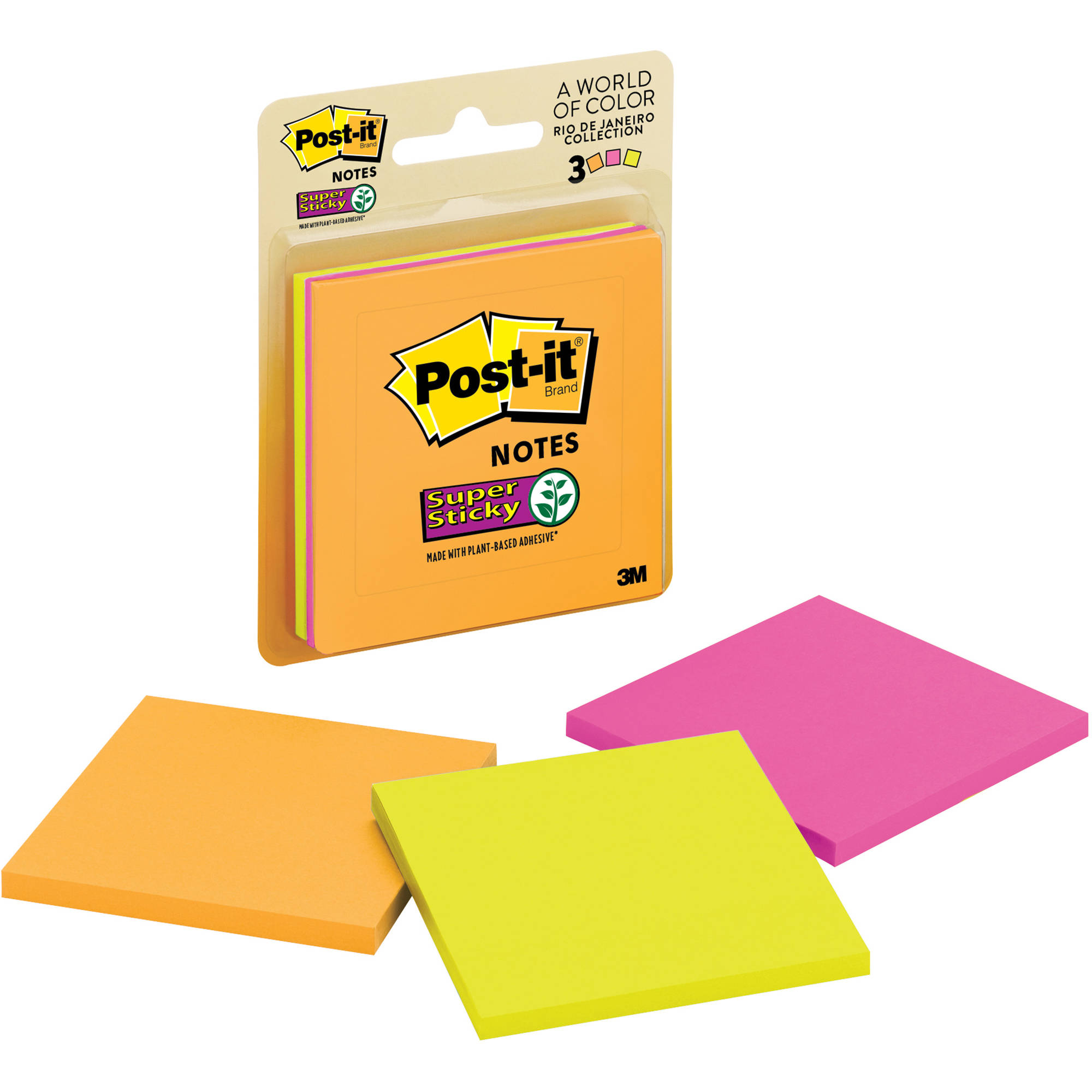 """Post-it Super Sticky Notes, 3"""" x 3"""", Rio de Janeiro Collection, 3-Pack"""