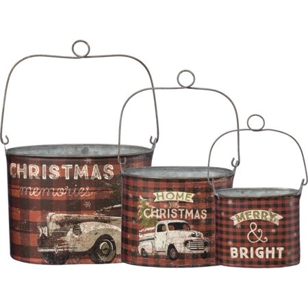 Stacking CHRISTMAS TIN BUCKETS, Set of 3, by Primitives by - Christmas Buckets