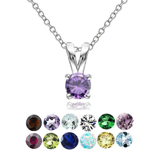 Glitzy Rocks Sterling Silver Gemstone 5mm Birthstone Round Solitaire Necklace July - Created Ruby