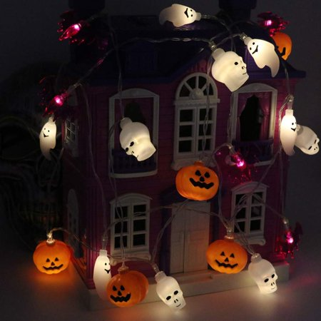 Halloween String Lights, 11ft 20 Halloween Decorations Lights with 4 Different Shapes and mixes - White Ghosts, Orange Jack O'Lanterns, Purple Bats, White Skull(Warm