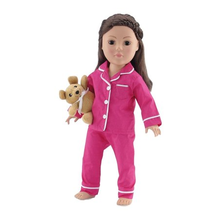 18 Inch Doll Clothes |Bright Pink and White Classic 2 Piece Pajama PJ Outfit with Teddy Bear | Fits American Girl - Bear Outfit
