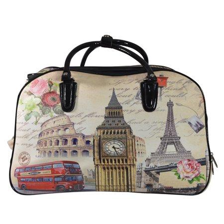 407f264453 Nima Fashion Paris London City Print Carry On Wheeled Duffle Bag on Wheels ( London) - Walmart.com