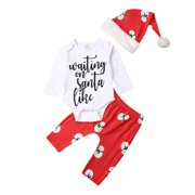 My First Christmas Outfits, Baby Girls Boys 3PCS Clothes Set Bodysuits Romper Pants Xmas Hat