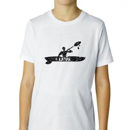 Man in Kayak on River Peaceful Kayaking Love Boy's Cotton Youth T-Shirt