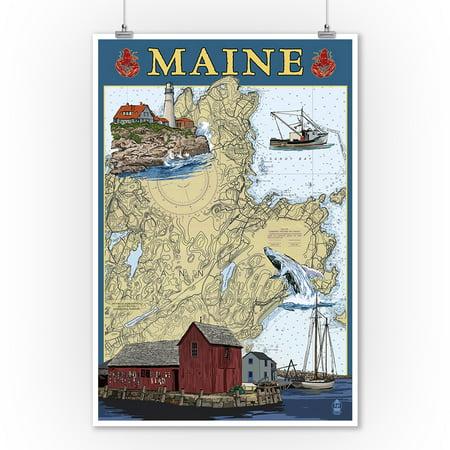 Maine Scenes - Nautical Chart - Lantern Press Poster (9x12 Art Print, Wall Decor Travel Poster) ()