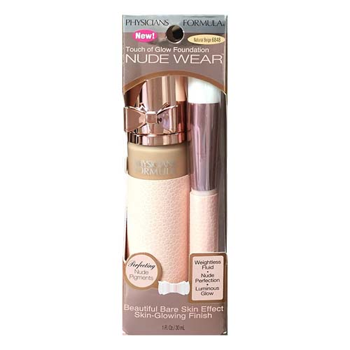 Physicians Formula Nude Wear Touch Of Glow Foundation, Natural Beige 6848, 1 Oz