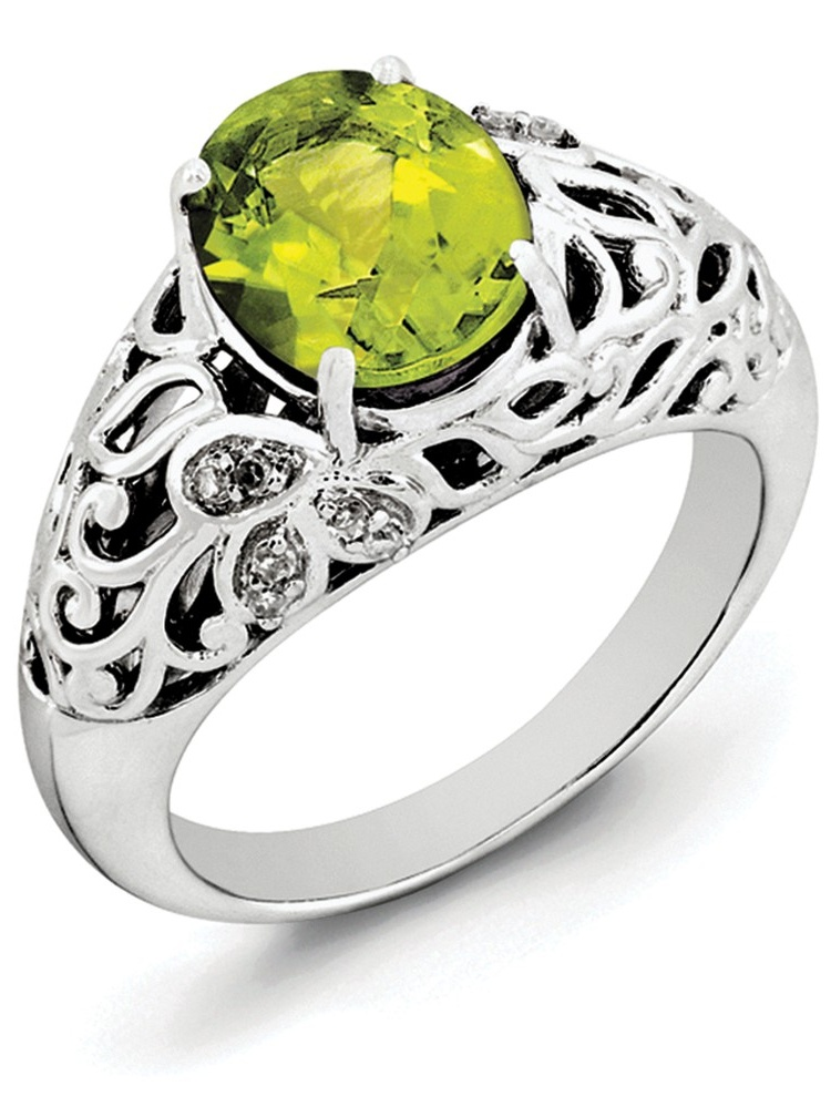ICE CARATS 925 Sterling Silver Green Peridot Diamond Band Ring Size 8.00 Gemstone Fine Jewelry Ideal Gifts For Women... by IceCarats Designer Jewelry Gift USA