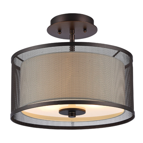 "CHLOE Lighting AUDREY Transitional 2 Light Rubbed Bronze Semi-flush Ceiling Fixture 13"" Wide by Chloe Lighting"