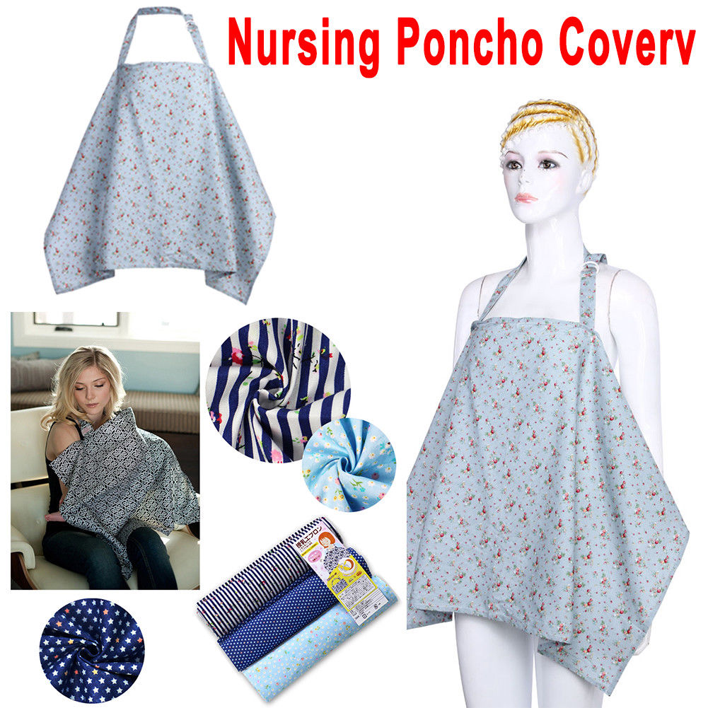 Baby Mum Mother Breastfeeding Nursing Poncho Cover Up Cotton Blanket Shawl US
