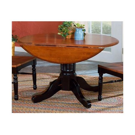 round double drop leaf dining table in oak finish