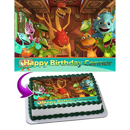Dinosaur Train Edible Cake Topper Personalized Birthday 1 4 Sheet Decoration Custom Frosting Transfer Fondant Image
