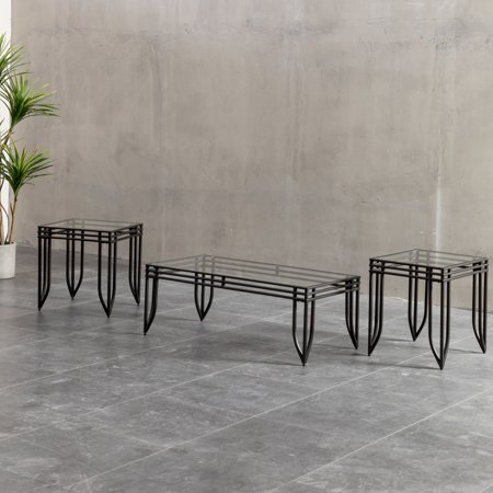Roundhill Matrix 3 in 1 Accent Table Set with Black Metal Frame, 1 Coffee Table and 2 End Tables Brooklyn Coffee Table Set