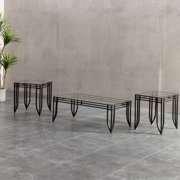 Roundhill Matrix 3 in 1 Accent Table Set with Black Metal Frame, 1 Coffee Table and 2 End Tables