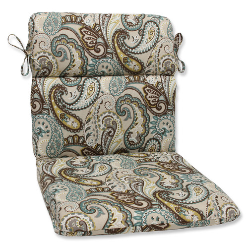 Pillow Perfect Outdoor/ Indoor Tamara Paisley Quartz Rounded Corners Chair Cushion