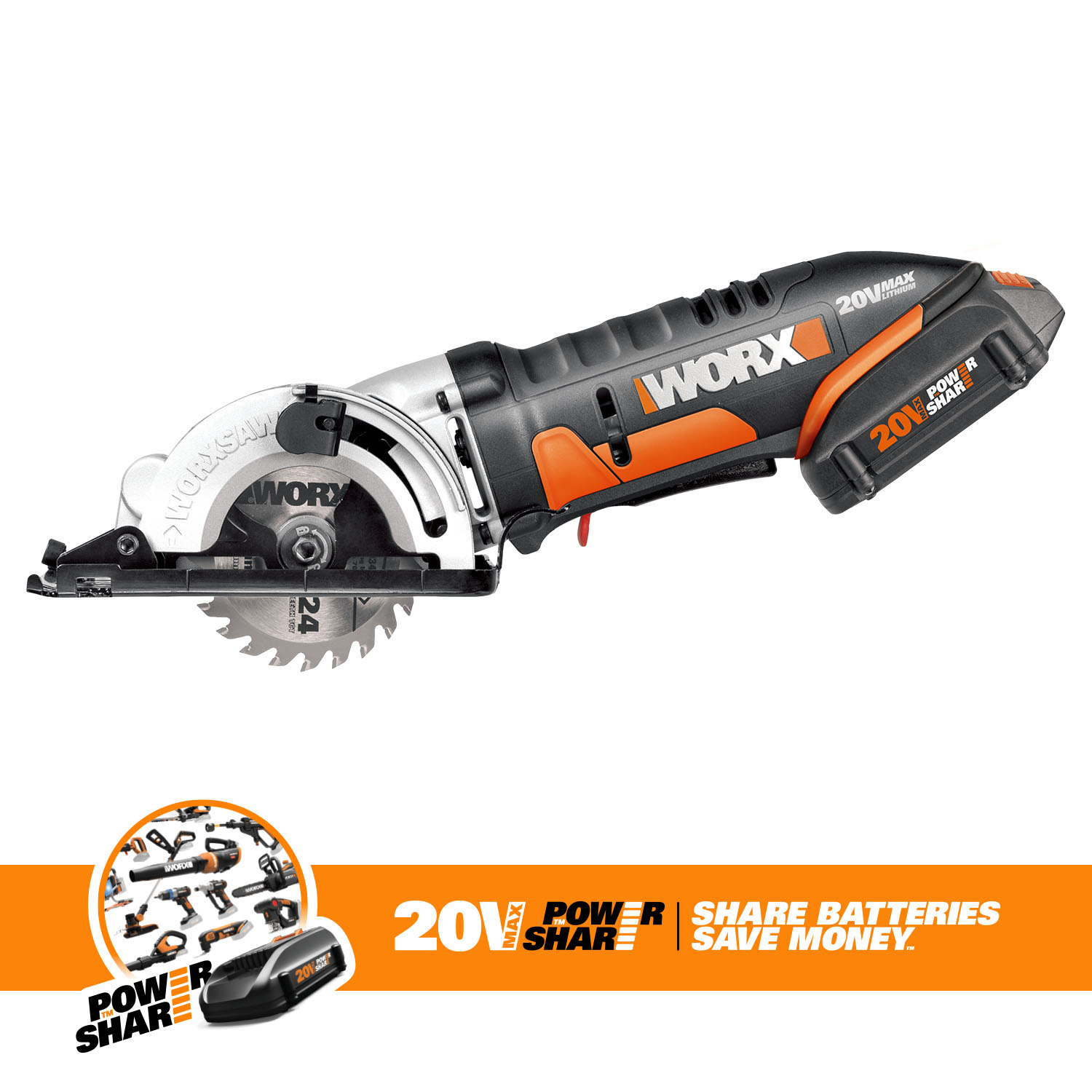 WORX WX523L 20V Cordless Circular Saw with 3 3 8� Blade by Positec Technology