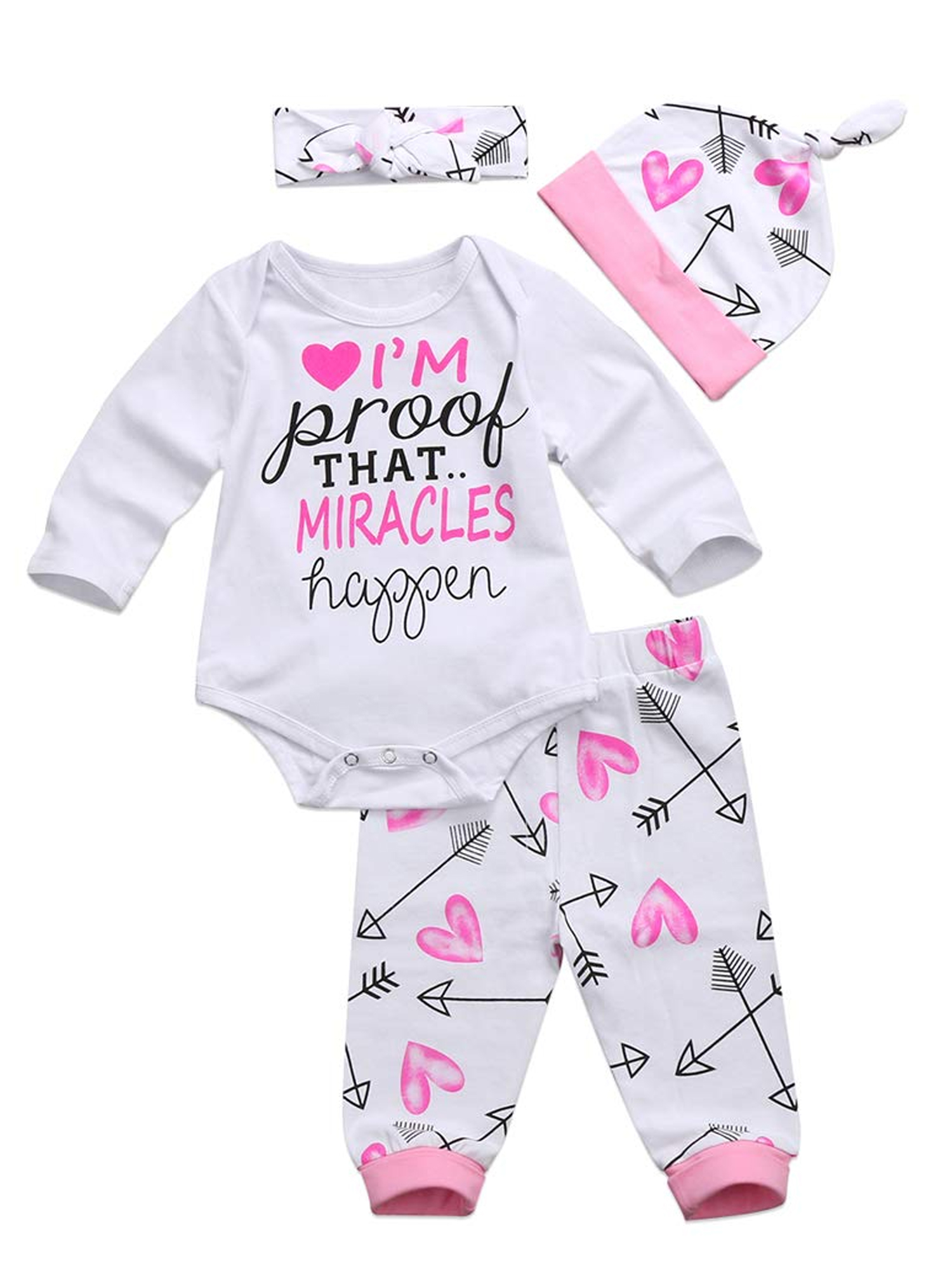 Hat+Headband Memela Baby Clothes,4 Pcs Newborn Baby Girls Clothes Miracles Letter Romper Outfit Pants Set