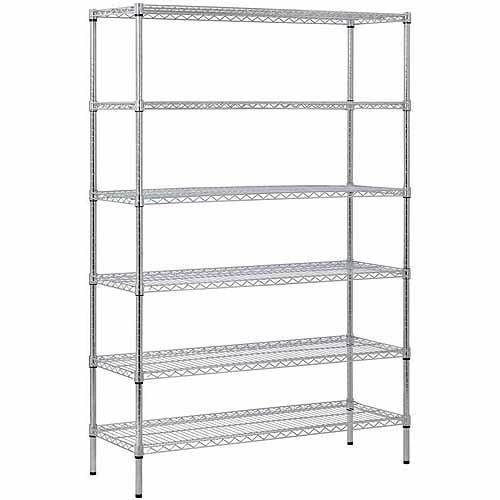 "7 X 10 Storage Unit: 6-Shelf 48""W X 72""H X 18""D Steel Shelving Unit, Zinc"