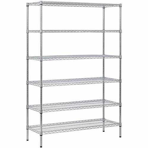 "6-Shelf 48""W x 72""H x 18""D Steel Shelving Unit, Zinc"