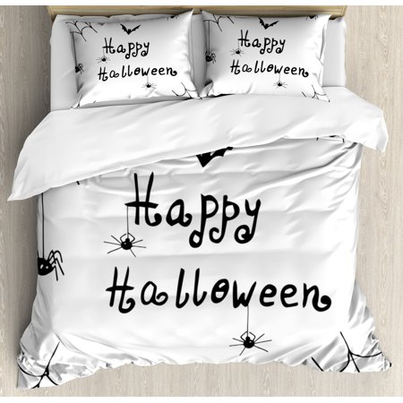 Spider Web Duvet Cover Set, Happy Halloween Celebration Monochrome Hand Drawn Style Creepy Doodle Artwork, Decorative Bedding Set with Pillow Shams, Black White, by Ambesonne (Being Black And White For Halloween)