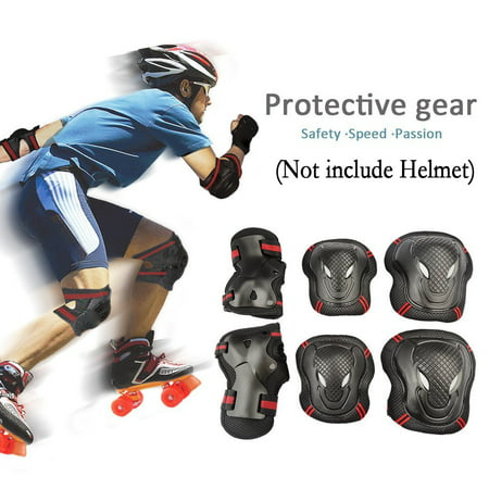 CoastaCloud 6PCS Kid's Childrens Adults Teens Youths Safety Skateboard Gear Guard Wrist Elbow Knee Pads Inline Skating Roller Cycling Blading for Bicycle, Skateboard, Scooter