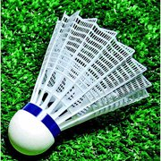 Sportime Nylon Medium Speed Badminton Shuttlecock Set, White with Blue Band, Set of 6