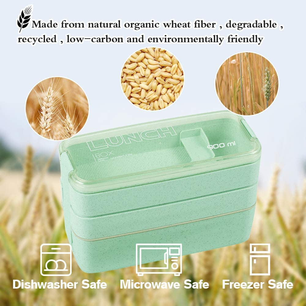 40 oz Divided Lunch Container with Spoon and Chopsticks Green Leakproof Lunch Box Made of Microwave and Dishwasher Safe Wheat Straw Airtight Lunch Box Bento Box for Adults and Kids Pink