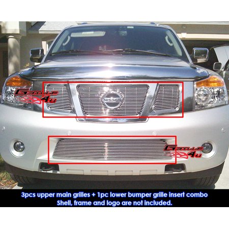 Fits 2008-2014 Nissan Armada Billet Grille Grill Insert With Logo Show Combo ()