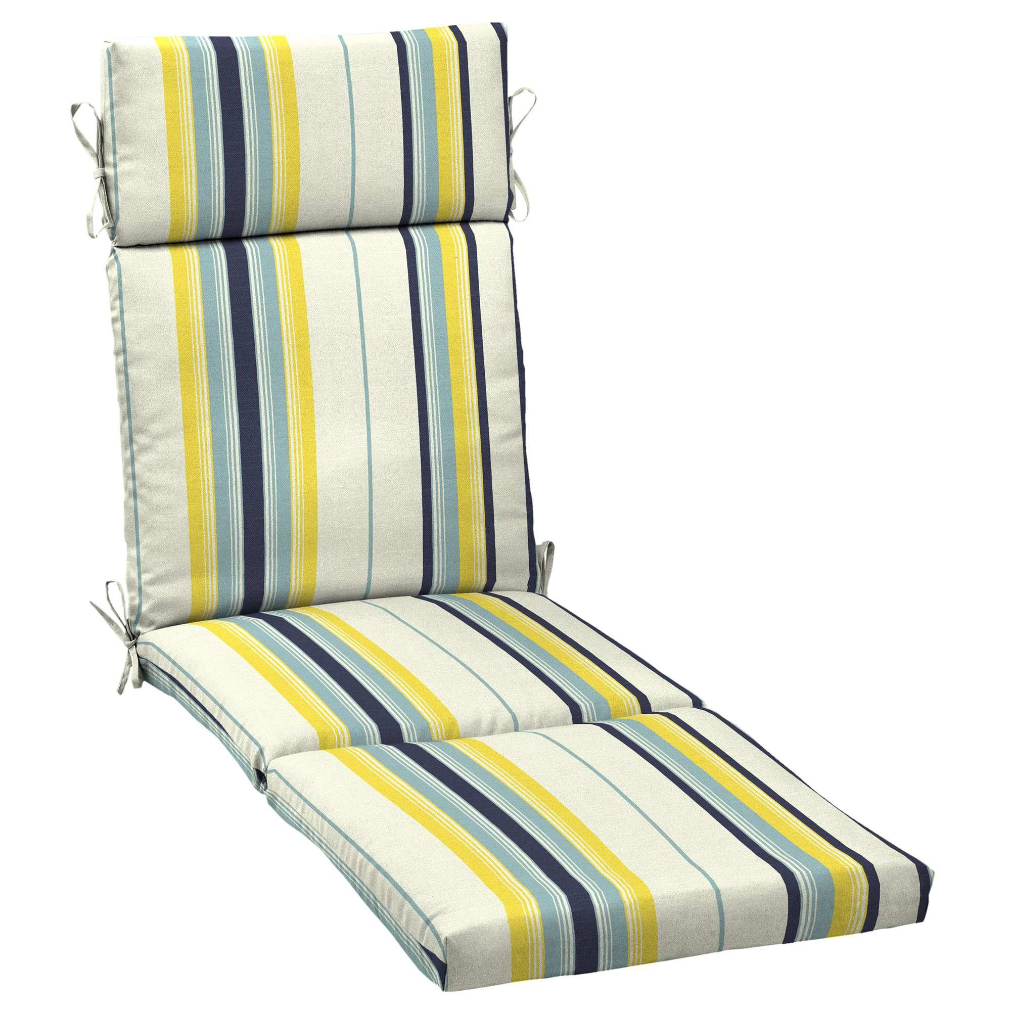 Mainstays Yellow Bell Gardens Stripe Outdoor Patio Chaise Lounge Cushion 21 In W X 72 D 4 H