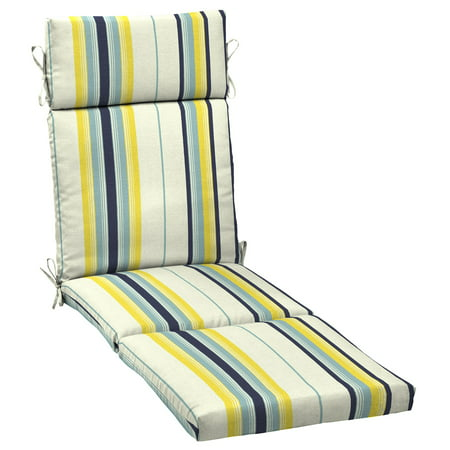 Mainstays Yellow Bell Gardens Stripe Outdoor Patio Chaise Lounge Cushion, 21 in. W x 72 in. D x 4 in. H (Chaise Pad)
