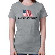 American Spirit Womens Tee Shirt USA Patriotic Fourth of July Stars Stripes