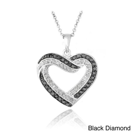 Silvertone 1/2ct TDW Black or Blue and White Diamond Heart Necklace (Tdw Diamond Cross Necklace)