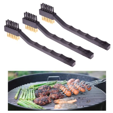 3 Pc Double Sided Brass Wire Brush Gun Rifle Pistol Cleaning BBQ Grill (3 Side Brush)