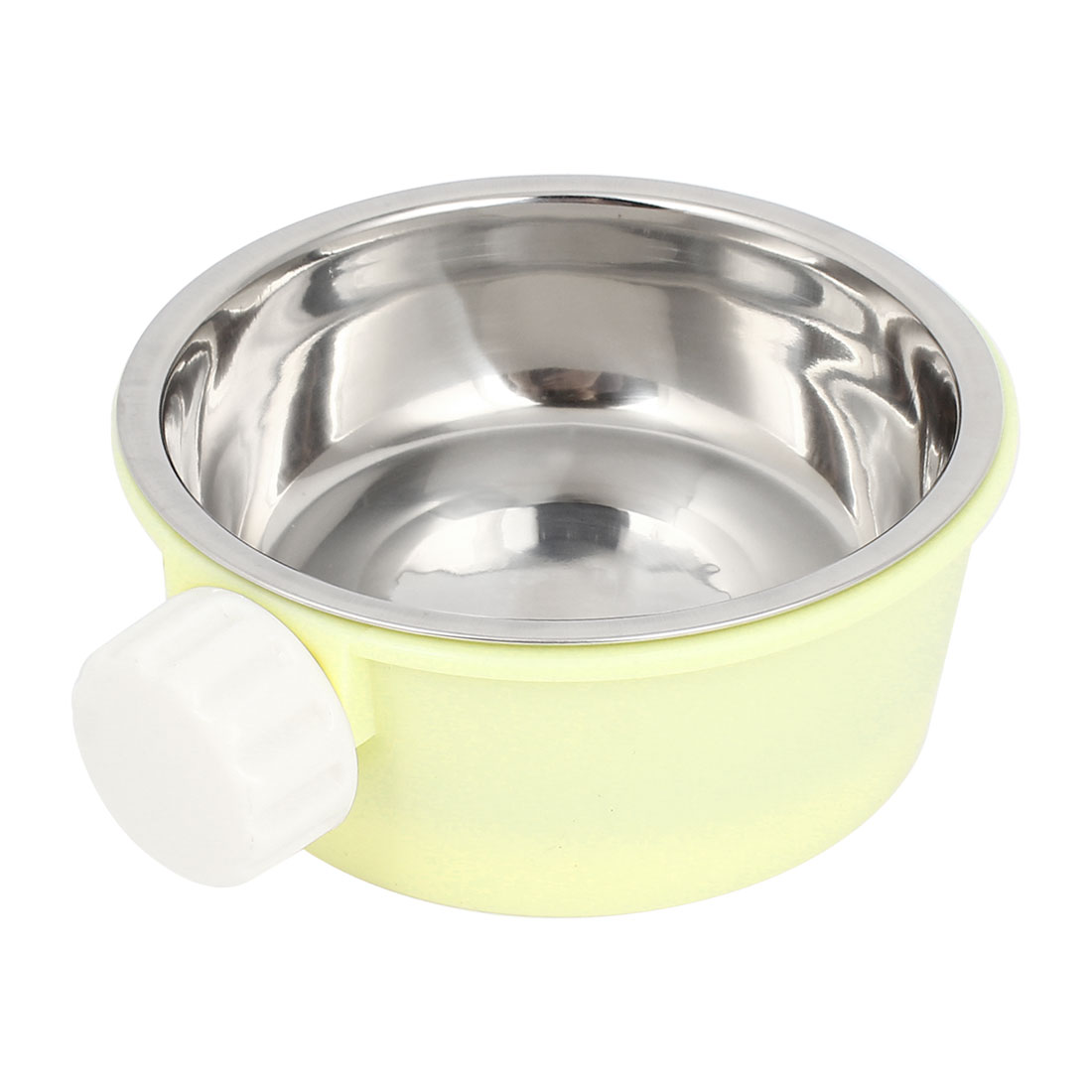 2 in 1 Round Pet Dog imitated rabbit Food Water Feed Fixed Bowl Dish Light Yellow