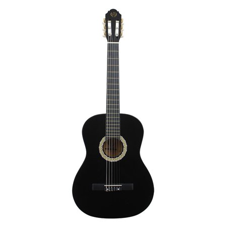 Classic 4 Inch Round Canopy - HERCHR Classical Guitar 39 Inch Rounded Guitar Black, Black Guitar, Wooden Guitar,39in Classic Wooden Guitar with Storage Bag Shoulder Strap Pitch Pipe Tuner String Black
