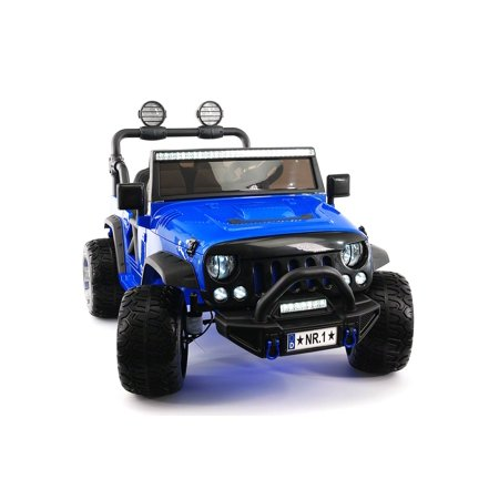 2018 Two Seater Truck for Kids Ride On Jeep Car Powered Wheels w/ Large Capacity 12V Battery, 3 Speeds, Leather Seat