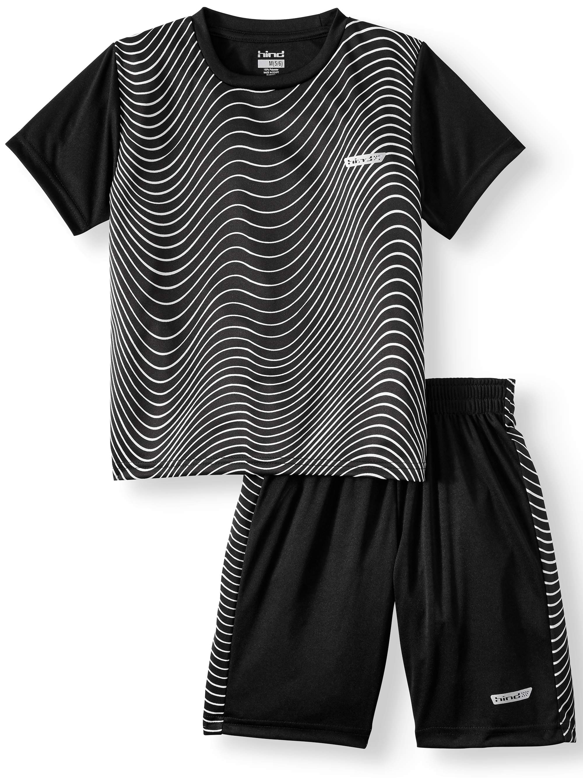 Printed T-Shirt and Poly Shorts, 2-Piece Outfit Set (Little Boys)