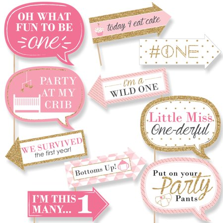 Funny Fun to be One - 1st Birthday Girl - First Birthday Party Photo Booth Props Kit - 10 Count - First Birthday Party Ideas Girl