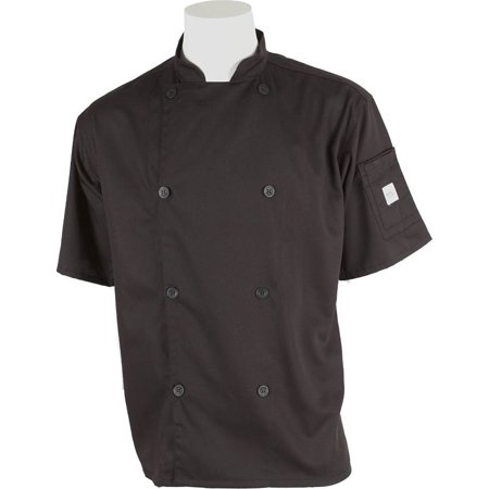 Coat Black Short Sleeve Buttons - Mercer Genesis Cutlery Short-Sleeved Chef Jacket (Black) - XL
